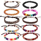 Forever & Ever Friendship Leather 7 Chakras Tribal Bracelet - 10 Pack Hand Knit Boho String Wood Bead Bracelets for Women