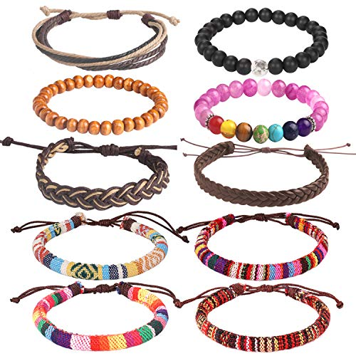 Wrap Bead Tribal Leather Woven Stretch Bracelet - 10 Pcs Boho Hemp Linen String Bracelet for Men Women Girls