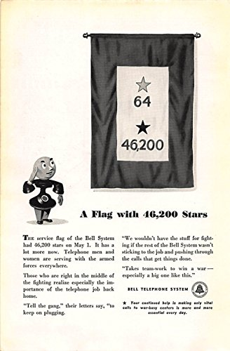 (Print Ad 1943 Bell Telephone A Flag with 46200 Stars)