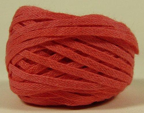 Organic Cotton Hand-Dyed Flat Braid Trim - Coral - 25 - Dyed Cotton Yarn Hand