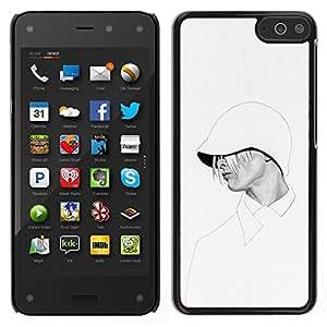 Sudadera con capucha de la mujer con estilo blanca Moda- Metal de aluminio y de plástico duro Caja del teléfono - Negro - Amazon Fire Phone