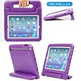iPad Mini Case iPad Mini 2 case iPad Mini 3 Case with Adjustable Handle Stand Antibacterial Shockproof Anti-Fall EVA Rugged Kids Cover Case for Apple iPad Mini 1/2/3 (Purple)