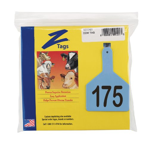 Z Tags 1-Piece Pre-Numbered Laser Print Tags for Cows, Numbers from 151 to 175, Blue by Z Tags