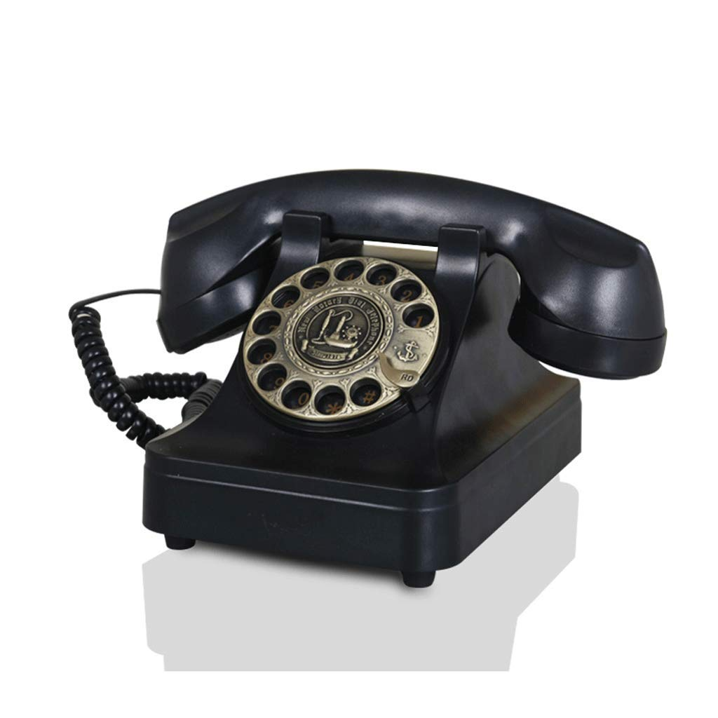 アンティーク電話/ローテート有線電話/ホームオフィスデスクトップ有線/機械式着メロL25CM * W19CM * H17.5CM ( 色 : ブラウン ぶらうん ) B077R31P5G ブラック  ブラック