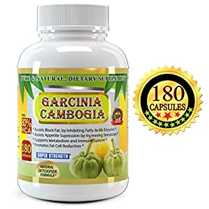 All New Garcinia Cambogia Extract Pure 80% HCA, 1500mg, 180 Capsules, Premium Quality, Highest Potency, 3 Months' Supply, Best Value on Market, Weight Loss Quick with Max Fat Burner.