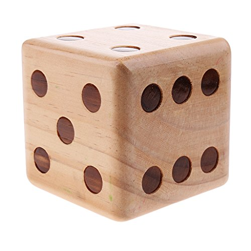 MagiDeal 1 Piece Six Side Crafted 3.5-inch Big Wooden Yard Dice With Rounded Corner by MagiDeal