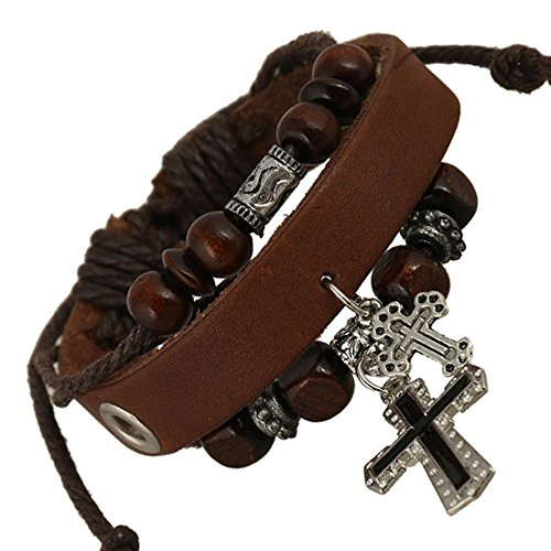 Vicheer Punk Style Skeleton Charm Braided Cord Leather Cuff Bracelet for Men ( Brown ) (Homemade Cupcake Costume Kids)
