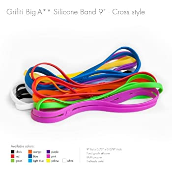 """Grifiti Big-Ass Bands X Cross Style 9"""" 5 Pack Books, Camera Lens, Art, Cooking, Wrapping, Exercise, MacBooks, Bag Wraps, Dungies Replacements, and Made with Silicone Instead of Rubber or Elastic"""