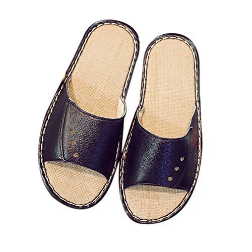 Women Spring M Leather TELLW Floor Noir for Men Smelly Anti Cowhide Wooden Summer Slippers Corium Autumn aWRUx