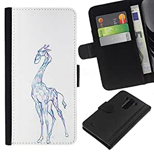 All Phone Most Case / Oferta Especial Cáscara Funda de cuero Monedero Cubierta de proteccion Caso / Wallet Case for LG G3 // Giraffe Art Drawing Colorful Pencil Blue