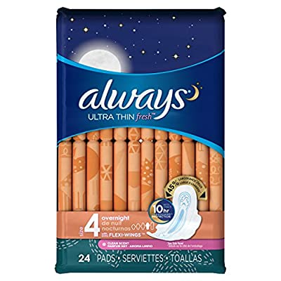 Always Ultra Thin Fresh Size 4 Overnight Pads With Wings, Scented, 24 count, Packaging May Vary by P&G
