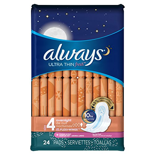 Always Ultra Overnight With Wings, Clean Scent Thin Pads 24 Count (Pack of 2)