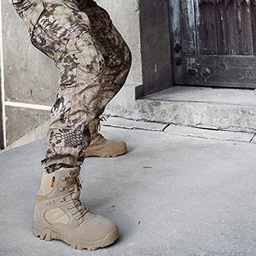 per Stivali Militari Tactical Escursioni Training Beige Alpinismo Cerniera Scarpe Stivali All'aperto Arrampicata High Uomo Laterale ASJUNQ da Combattimento Trekking Stivali Tops Desert w4PB70q