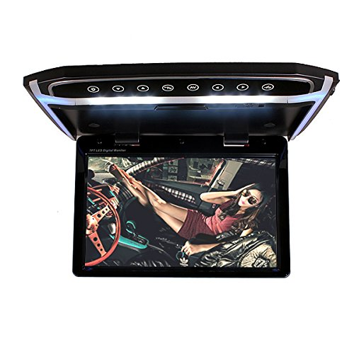 In Car Roof Mounted Overhead Flip Down MP4 MP5 Video Media Multimedia Player LED HD Monitor Screen with HDMI SD AV Input 16GB Card + Card Reader by HitCar ()