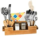 Bamboo Utensil Holder Set Caddy Silverware Flatware Wooden Beer Tray For Spoons Knives Forks Napkins Chopsticks Condiments 2 Spice Jars Including 7 Compartment Kitchen Organizer Home By House Ur Home