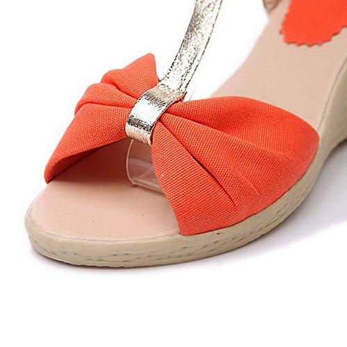 Open Assortiti Tessuto Voguezone009 Peep In Girls Toe Sandali Colori Arancio Con 5qxwzxFUB