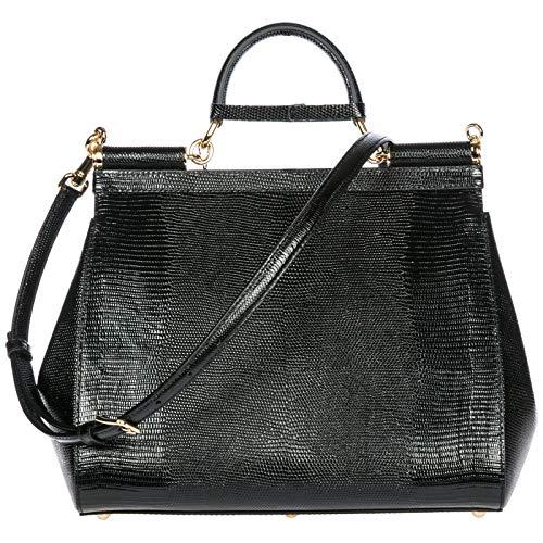 sicily cuir Dolce Gabbana à sac femme noir amp; main en U4Uqvaw