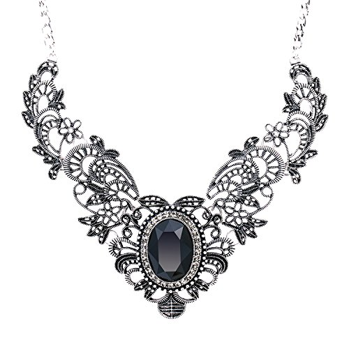 She Lian Vintage Womens Crystal Prom Costume Jewelry Bib Statement Necklace 16 Inch (Black)