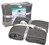 HILLFAIR Waffle Grey Queen Bed Blankets? 100% Cotton Blanket? Light Weight Queen Blanket?Super Soft Cotton Blanket?Grey Queen Size Blankets? Cotton Blanket/Bedcovers/Bedspread/Throws for Couch