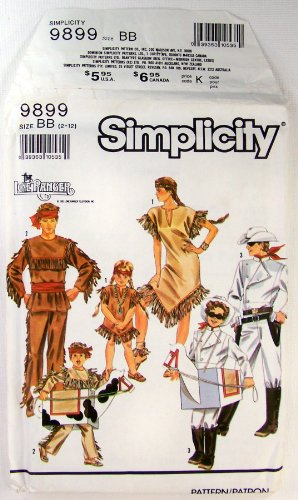 Simplicity 9899 Size 2-12 Adults Boys Girls Lone Ranger Tonto Silver and Scout Costume Pattern - Lone Ranger Costume Pattern