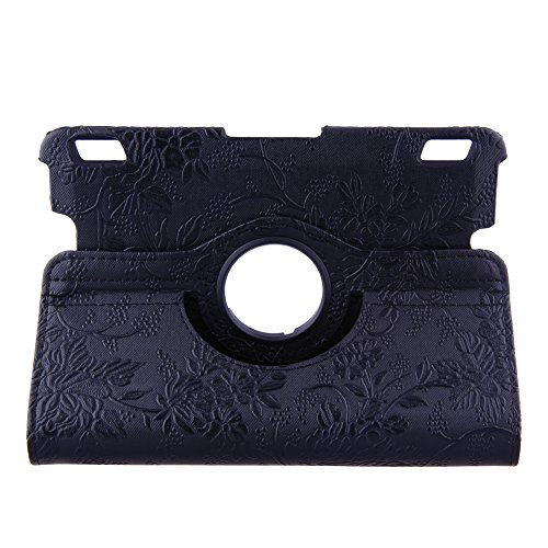 TOPCHANCES Fashionable Emblossed Flowers Case with 360 Degree Rotating Stand and Automatic Hibernation for 2013 Kindle Fire HDX 7- Black