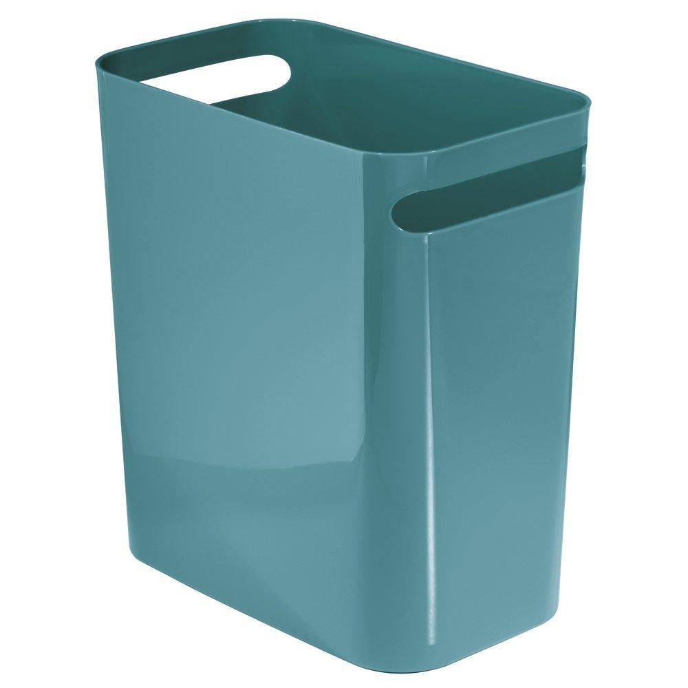 Amazon.com: InterDesign Una Wastebasket Trash Can 12 Inch - Teal ...