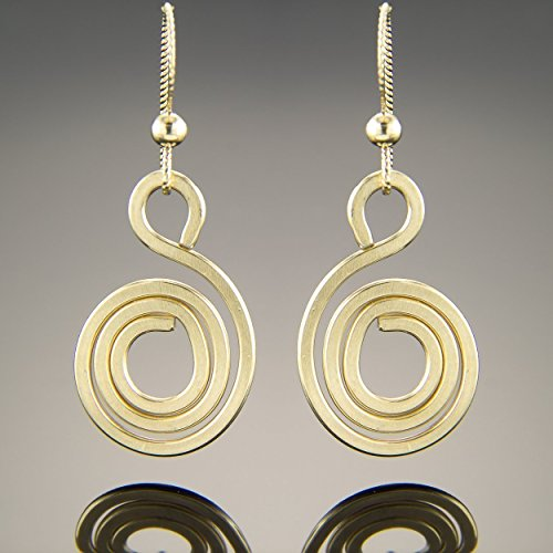 Spiral Dangle Earrings in 14K Yellow Gold Fill