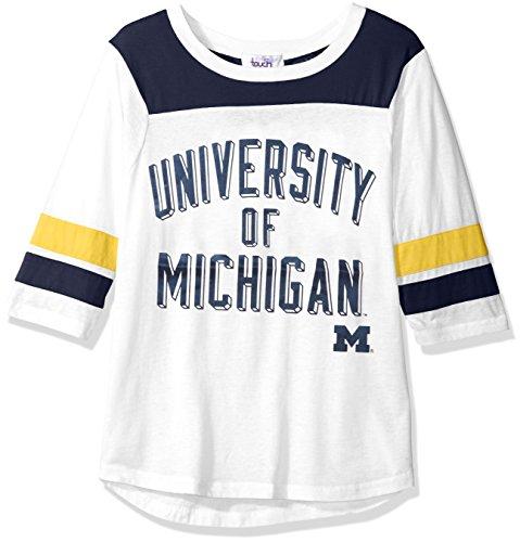 NCAA Michigan Wolverines Women's Gridiron Tee , Medium, White