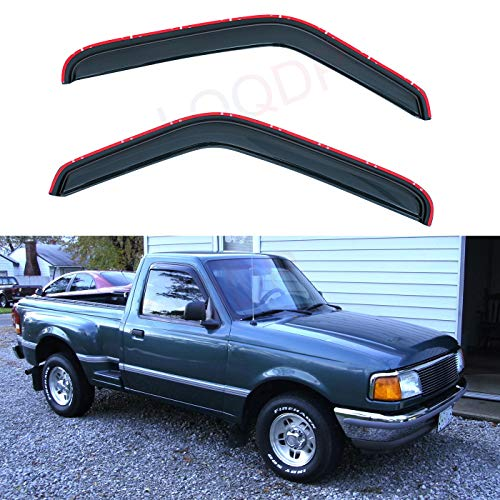 LQQDP Set of 2 In-Channel Front Doors Smoke Sun/Rain Guard Wind Deflector Tape-On Acrylic Window Visors For 93-11 Ford Ranger 94-10 Mazda B2300/B2500/B3000/B4000 Regular & Extended Cab