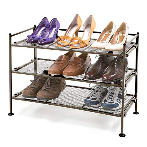 Seville Classics 3-Tier Iron Mesh Utility Shoe Rack, Satin - Classic Tier Three