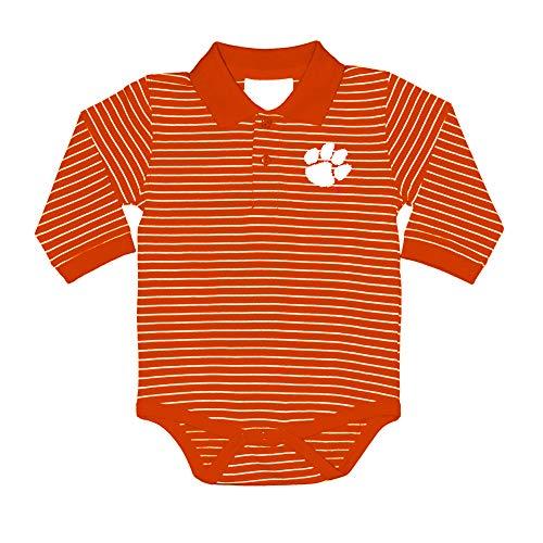 (Two Feet Ahead NCAA Clemson Tigers Boys Infant Boys Long Sleeve Stripe Golf Creeperinfant Boys Long Sleeve Stripe Polo Creeper, Orange, 6 Months)