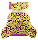 Emoji Complete Girls Bedding Set with Smiley Pillow Toy - Twin
