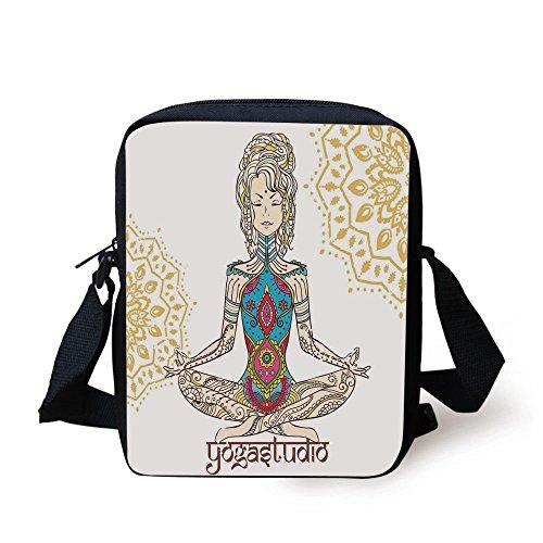 iPrint Chakra Decor,Girl in Yoga Position Ethnic Figures on Her Body Physical Force Belief Pattern,Multi Print Kids Crossbody Messenger Bag ()
