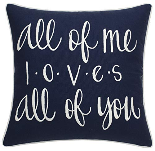 ADecor All of Me Loves All of You Cotton Embroidered Decorative Square Accent Throw Pillowcase – Couple Gift, Love…