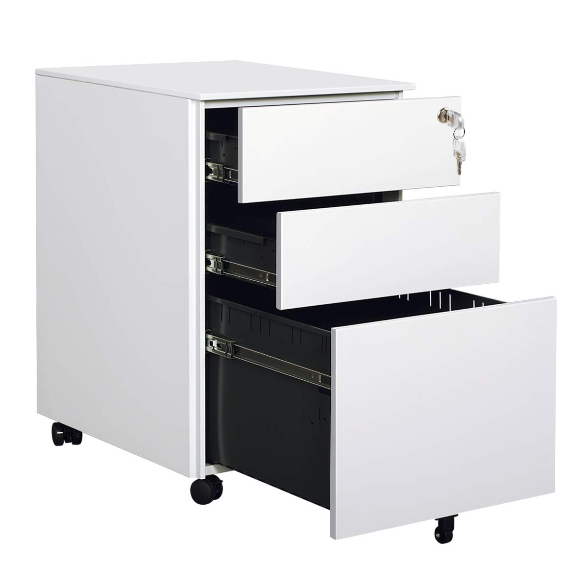 DEVAISE Mobile File Cabinet with 3 Drawer - Metal Filing Cabinet with Lock, White