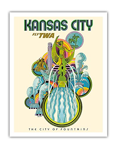 Pacifica Island Art Kansas City - Fly TWA (Trans World Airlines) - The City of Fountains - Vintage Airline Travel Poster by David Klein c.1960s - Fine Art Print - 11in x 14in