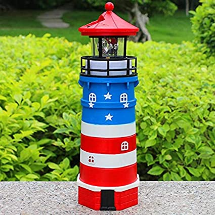 Solar Lighthouse With Rotating Lamp Garden Lights For Patio Lawn Decor