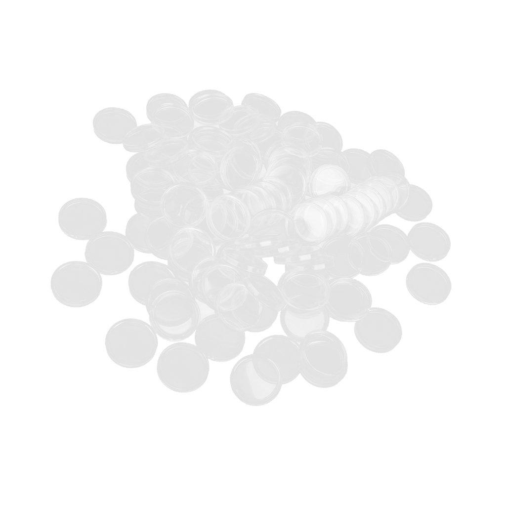Hellery 100 Cajas De Monedas Encajonadas Monederos Transparentes De 18 Mm A 50 Mm 35mm