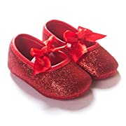 R&V Baby Girl Moccasins Infant Princess Sparkly Premium Lightweight Soft Sole Tassels Prewalker Toddler Girls Shoes (M:6-12 Months, Red)