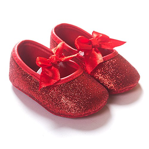 R&V Baby Girl Moccasins Infant Princess Sparkly Premium Lightweight Soft Sole Prewalker Toddler Girls Shoes (S:0-6 Months, Red)]()