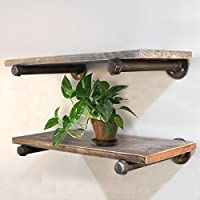 Rustic Industrial Wood Wall Shelves Pipe Shelf Bookcase 24x10 (Two Shelf Bookcase)