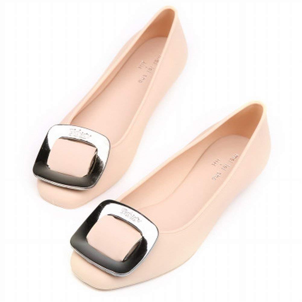 Fuxitoggo Seitliche Schnalle Frauen Frauen Frauen Schuhe Mode Gelee Schuhe Bequeme Allgleiches Schuhe (Farbe   Weinrot Größe   38) cf2151
