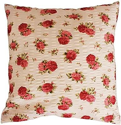 Almohada de 40 x 40 cm, Rústico rosas flores, rojo en beige ...