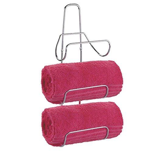 mDesign Modern Decorative Metal Steel Spa Bathroom Organizer 3 Shelf Towel Rack Holder - Wall Mounted - for Storage Hanging of Wash Cloths, Hand Large Multiple Rolled Towels - Chrome
