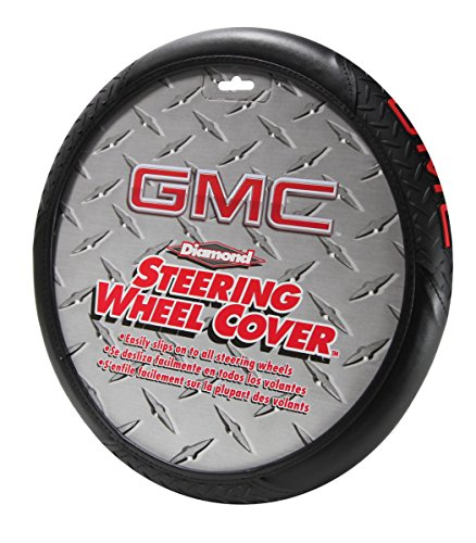 """GMC Red Logo Leather Steering Wheel Cover - Car Truck SUV & Van, Performance Diamond Grip, Universal Size Fit 14.5""""-15.5"""", Auto Interior Accessories - by Infinity Stock"""