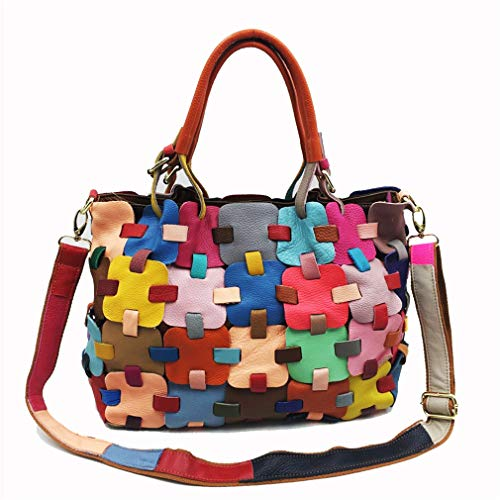 A Colorful Donna colorful Mano Grande Shopping Colore Plaid Divertimento Trend Rrock Bag Personalità Capacità In Borsa Pelle Tracolla Messenger Moda Intrattenimento f5Ctqw