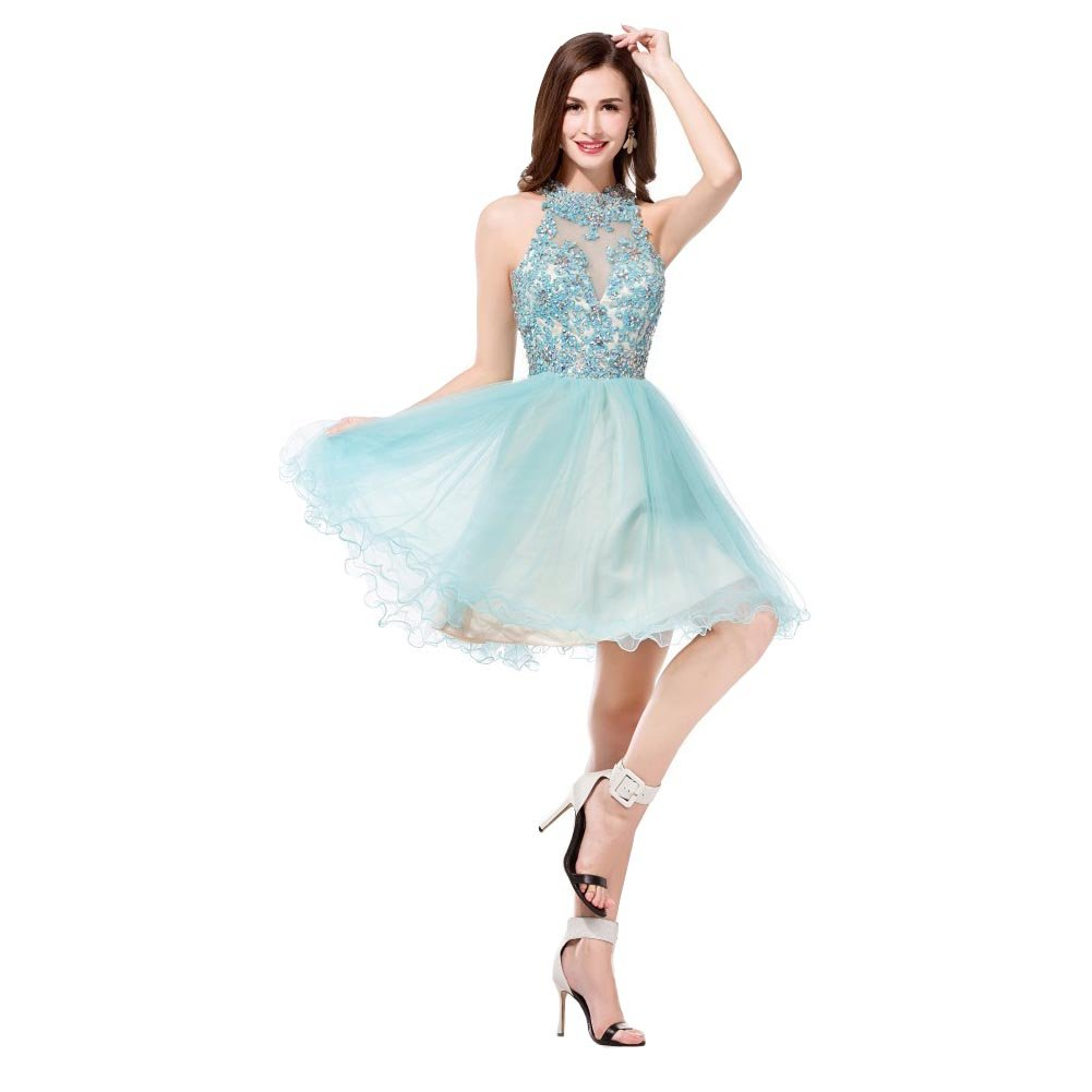 19209bdefd Amazon.com  Kivary® Blue Tulle Champagne Lace Appliques Short Halter Prom  Homecoming Dresses  Clothing