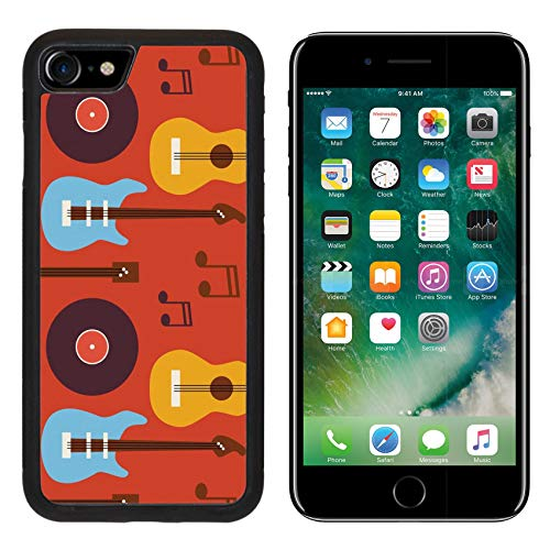 Luxlady Apple iPhone 8 Case Aluminum Backplate Bumper Snap iPhone8 Cases ID: 42172068 Pattern Music Instrument Guitar Vinyl Disc and Note Flat Style Vector Seamless
