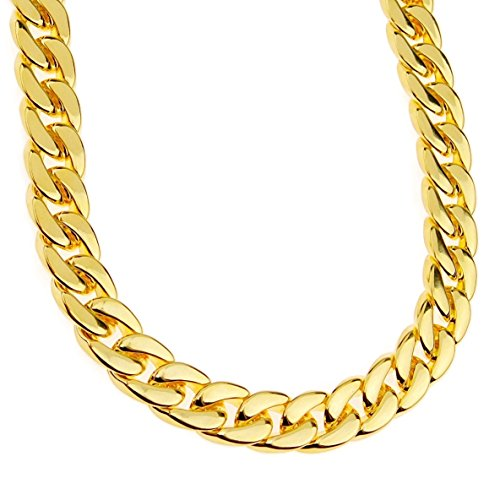 Mens 14k Gold Plated Cuban Link Chain Chunky Heavy Alloy 33