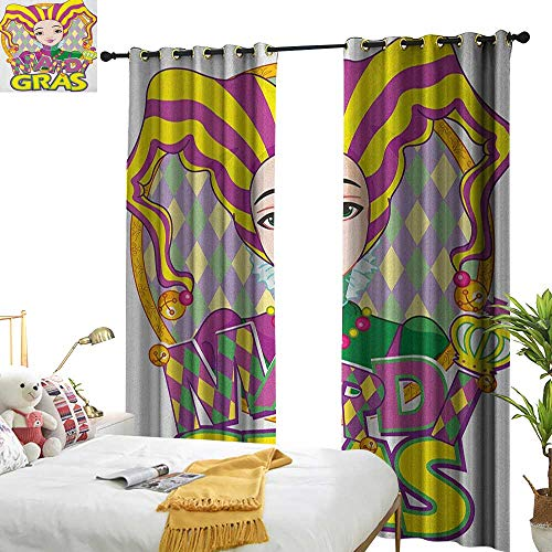 WinfreyDecor Decor Curtains Mardi Gras Carnival Girl in Harlequin Costume and Hat Cartoon Fat Tuesday Theme Noise Reducing W72 x L108 Yellow Purple -
